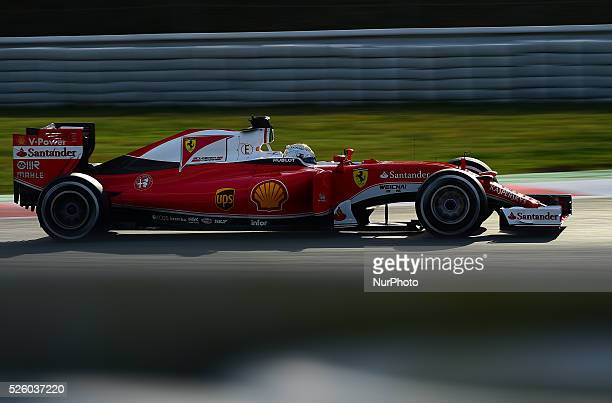 The German driver Sebastian Vettel from Ferrari Formula One Team driving his car during the second day of Formula One tests days in Barcelona 2nd of...