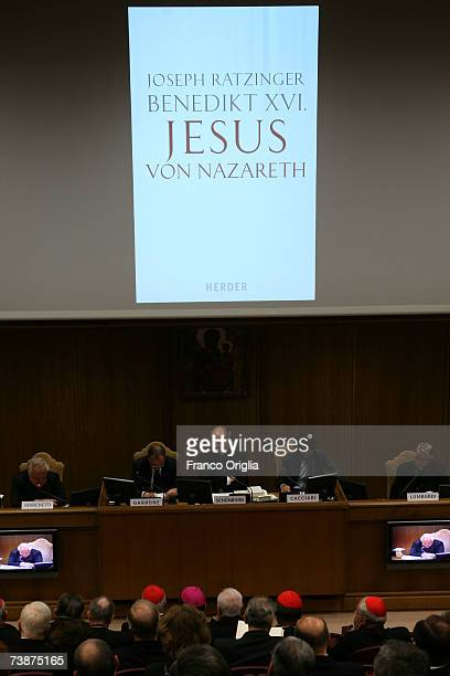 The German edition of Pope Benedict XVI's latest book 'Jesus of Nazareth' during the media conference at the Sinodo Hall on April 13 in Vatican City...