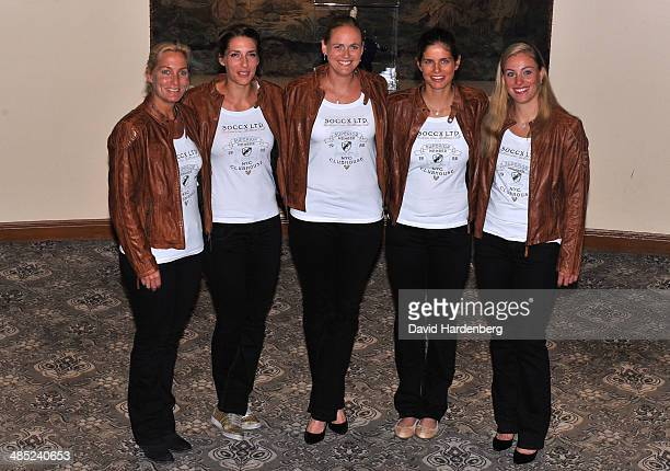 The German Fed Cup team Coach Barbara Rittner Anna Petkovic AnnaLena Groenefeld Julia Goerges and Angelique Kerber pose for a photo during the Fed...