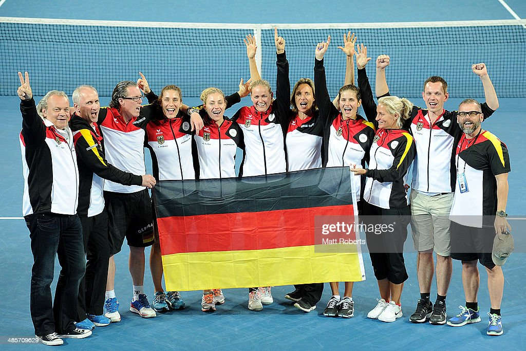 The German Fed Cup team pose for a photograph after the Fed Cup Semi Final tie between Australia and Germany at Pat Rafter Arena on April 20, 2014 in Brisbane, Australia.