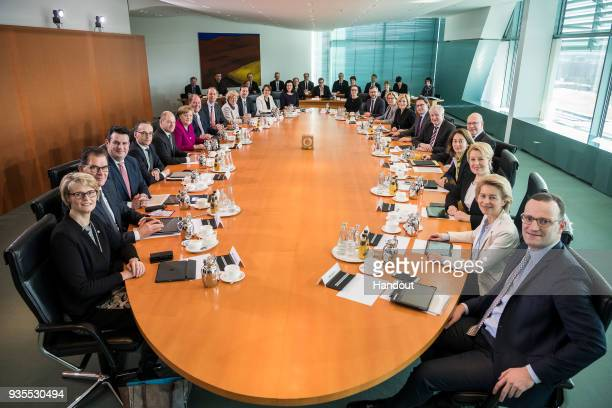 The German Federal Cabinet pose for a photo at the weekly government cabinet meeting on March 21 2018 in Berlin Germany High on the morning's agenda...