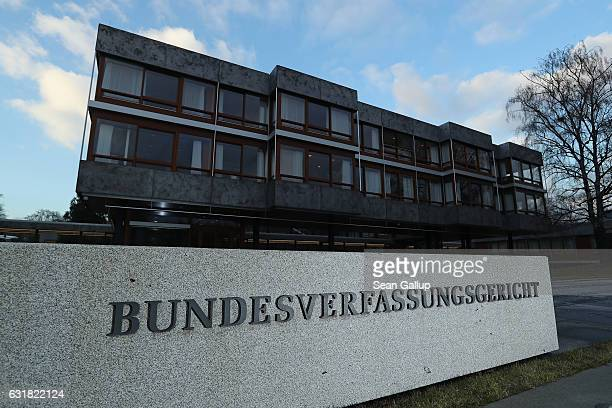 The German Federal Constitutional Court stands on January 16 2017 in Karlsruhe Germany The Constitutional Court is scheduled to announce its ruling...