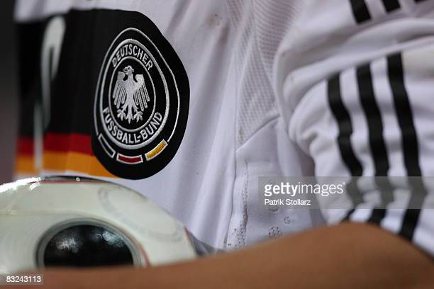 The German Football Federation badge on a game jersey pictured during the FIFA 2010 World Cup Qualifier match between Germany and Russia at the...