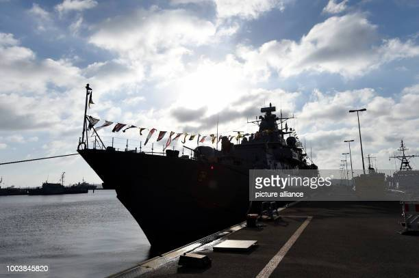 The German frigate 'MecklenburgVorpommern' lies at the navy harbour in Kiel Germany 16 June 2017 More than 40 navy ships from 13 nations will lie at...