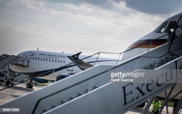 The german government plane is pictured in front of the government plane of Iran on May 15, 2018 in Brussels, Belgium. German Foreign Minister Heiko...