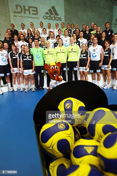 The German handball national teams are seen during a photocall at the Adidas Brand Center on July 1 2008 in Herzogenaurach Germany