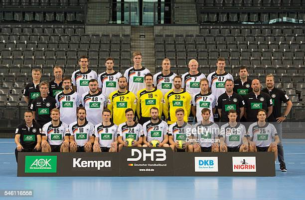The German Handball Team poses for a photo during the Team Presentation on July 11 2016 in Stuttgart Germany Front row lr Teamcoordinator Volker...