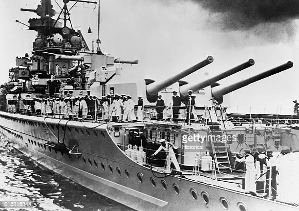 The German heavy cruiser Admiral Graf Spee Deutschland class in 1937 Two years later it would be scuttled off Montevideo to avoid capture
