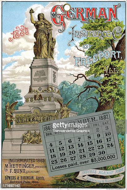 The German Insurance Company issues an advertising calendar in January of 1887 in Freeport Illinois