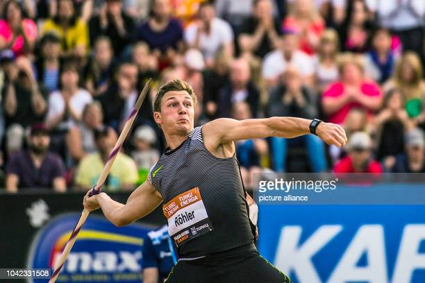 The German javelin thrower, Thomas Roehler, throws a javilin across the 91-metre-mark twice in Turku, Finland, 29 June 2016. The 24-year-old of...