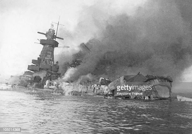 The German Liner Admiral Graf Spee Sinking Progressively In The Rio De La Plata'S Estuary In Uruguay On December 17 1939 Damaged By Three British...