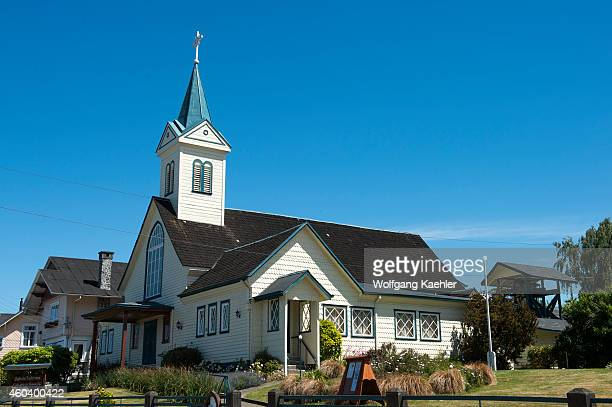 The German Lutheran Church in Frutillar a small town on Lake Llanquihue in the Lake District near Puerto Montt Chile