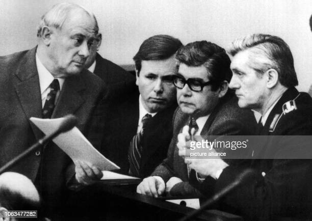 The German Minister of Defence Georg Leber the Defence Secretaries Andreas von Bülow and Helmut Fingerhut and the inspector general Harald Wust in...