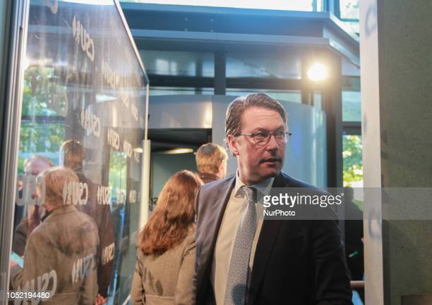 The German Minister of Transport Andreas Scheuer arriving at the CSU HQ in Munich Germany on October 15 2018 The Christian Social Union held a board...
