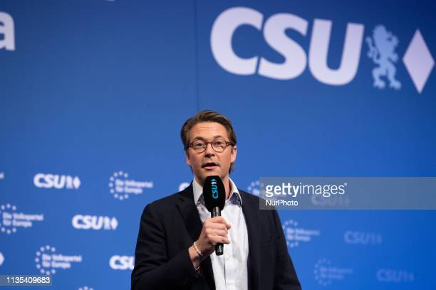 The German Minister of Transport Andreas Scheuer The CSU held its first European election rally on 642019 in Straubing Eastern Bavaria The main...