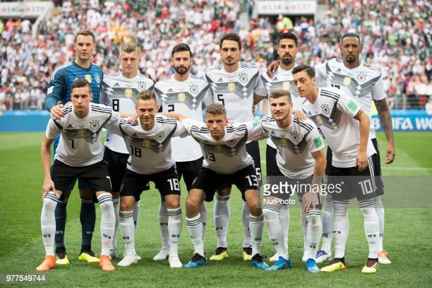 The German national football team line up during the 2018 FIFA World Cup Russia Group F match between Germany and Mexico at Luzhniki Stadium in...