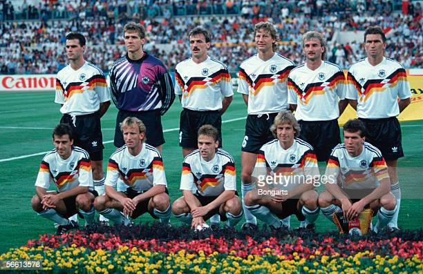 The German National Football Team line up for a team photo with Thomas Berthold Bodo Illgner Juergen Kohler Guido Buchwald Rudi Voeller Klaus...