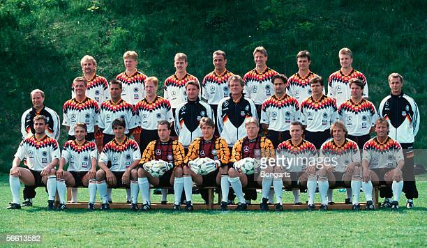The German National Football Team line up with Rudi Voeller Stefan Effenberg Mario Basler Juergen Kohler Guido Buchwald Thomas Berthold Thomas Helmer...