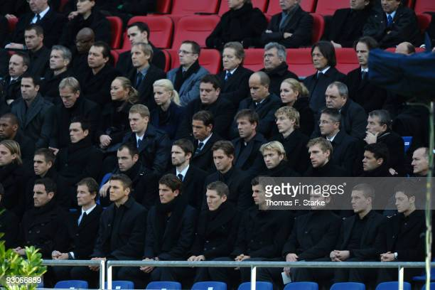The German National Team attends the memorial service prior to Robert Enke's funeral at AWD Arena on November 15 2009 in Hanover Germany Tens of...