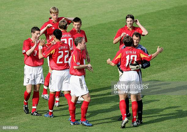 The German National team before thee Semi Final Match between Germany and Brazil for the FIFA Confederations Cup 2005 at the Franken Stadium on June...