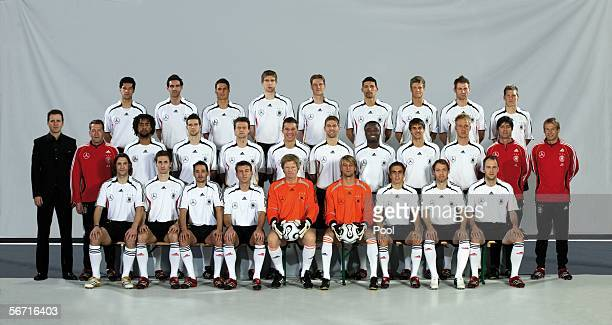 The German National Team poses during a photocall of the German National Football Team on January 31 2006 in Duesseldorf Germany rom top row Michael...