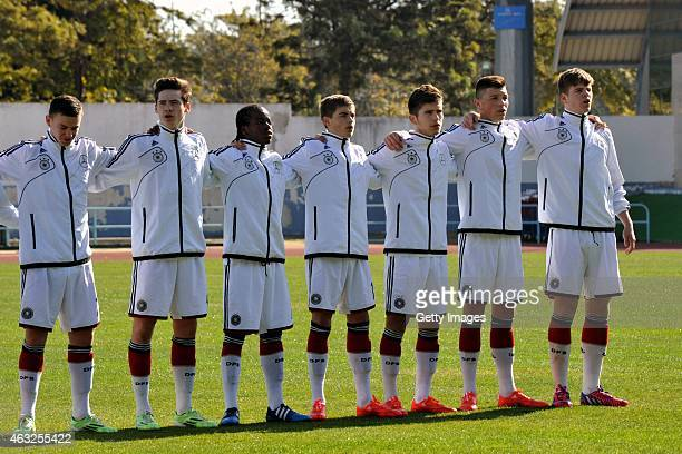 The German national team sing the anthem during the U16 UEFA Development Tournament match between Germany and Portugal on February 12 2015 in Vila...
