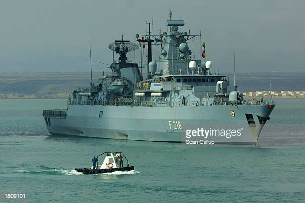 The German naval frigate Mecklenburg-Vorpommern embarks February 22, 2003 from the port at Djibouti Town, Djibouti. The Mecklenburg-Vorpommern is one...