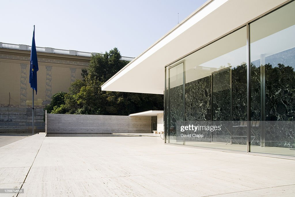 The German Pavilion, designed by Ludwig Mies van der Rohe, was the German Pavilion for the 1929 International Exposition in Barcelona, Spain, Europe : Stock Photo