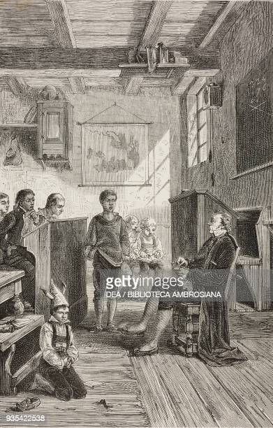 The German physician Franz Joseph Gall conceiving his Phrenology system in the Tiefenbronn school illustration from Know Yourself Notions of...