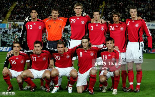 The German players pose before the international friendly match between Italy and Germany at the Artemio Franchi Stadium on March 1 2006 in Florence...