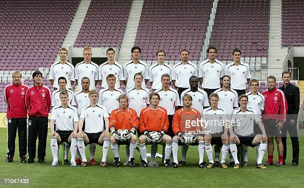 The German players pose during the Teamshot of the German National Team for the FIFA World Cup 2006 at the Stade de Geneve on May 25, 2006 in Geneva,...