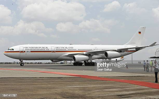 The German presidential plane an Airbus A340 taxis toward its boarding position prior to the departure of German President Joachim Gauck at Bole...
