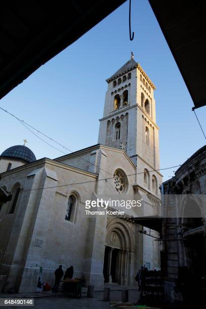 The German Protestant Church of the Savior in the historic city center of Jerusalem on February 08 2017 in Jerusalem Israel