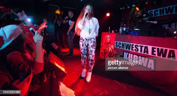 The German rapper 'Schwesta Ewa' performs at the beginning of her 'Kurwa' tour in the 'Nachtleben' in Frankfurt am Main Germany 02 March 2015 The...