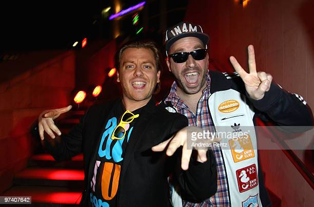 The German rappers Manny Marc and Frauenarzt attend the 'Musik Hilft' charity dinner at Grill Royal on March 3 2010 in Berlin Germany