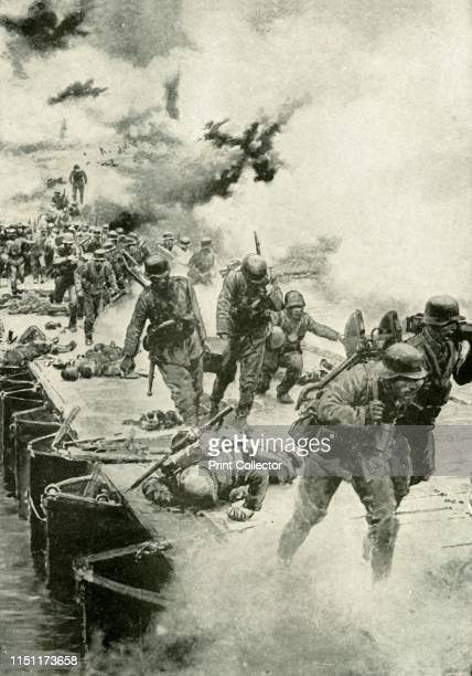 The German River of Fate', . Scene from the First World War, 1914-1919: 'The German retreat to the Marne [River, northern France] in September 1915,...
