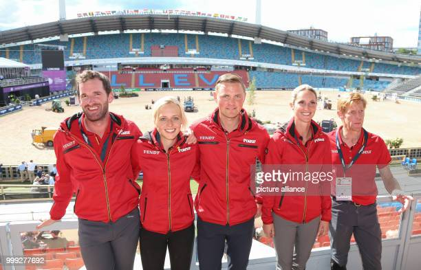 The German show jumping team Philipp Weishaupt , Laura Klaphake, Maurice Tebbel, Simone Blum and Marcus Ehning can be seen in the Ullevi Stadium at...