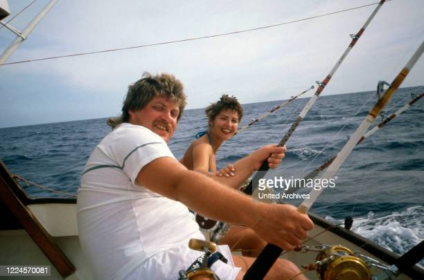 The German singer Klaus Baumgart with his wife Ilona SchulzBaumgart from the Schlager duo 'Klaus Klaus' probably on vacation in the Bahamas during a...