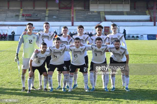 The German starting XI pose for a team photograph before the Germany v Norway u19 international friendly match on November 15, 2019 in Portadown,...