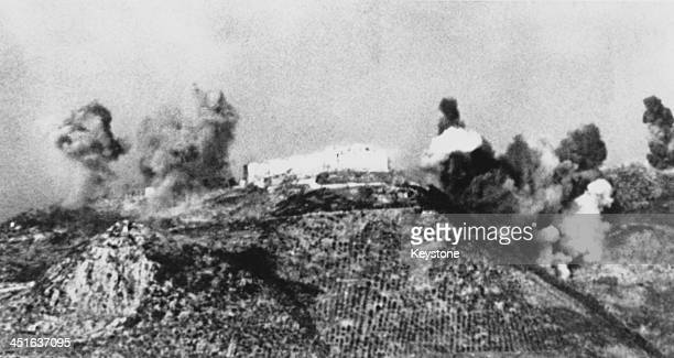 The German stronghold in the Benedictine Abbey of Monte Cassino is shelled by allied artillery during the Battle of Monte Cassino Italy World War II...