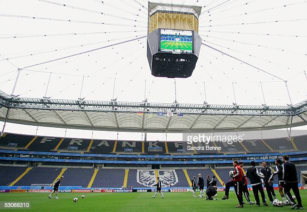 The German Team arrives for their training session for the FIFA Confederations Cup at the newly built Waldstadion stadium on June 14, 2005 in...