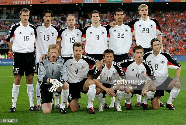 The German team before the international friendly match between Netherlands and Germany at the De Kuip Stadium on August 17 2005 in Rotterdam...