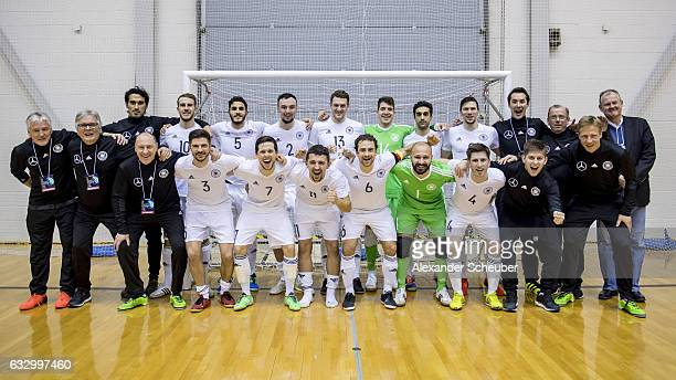 The german team celebrate the victory after the UEFA Futsal European Championship Qualifying match between Estonia and Germany at on January 29 2017...