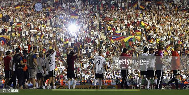 The German team celebrate with their third place medals after the FIFA World Cup Germany 2006 Third Place Playoff match between Germany and Portugal...