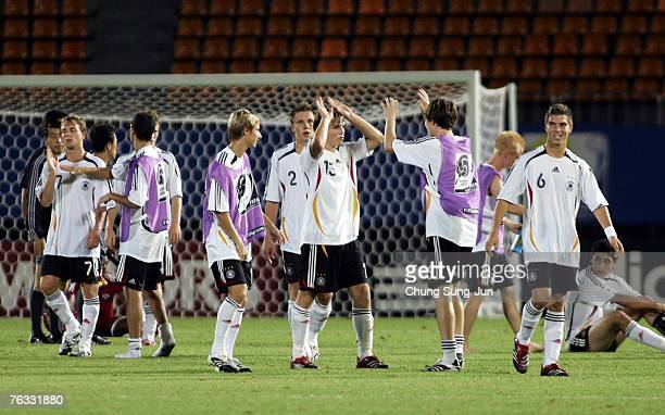 The German team celebrates after the FIFA U17 World Cup group F match between Germany and Trinidad and Tobago at the Changwon Sports Complex on...