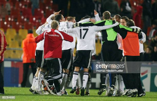 The German team celebrates after the UEFA U21 Championship Playoff match between France and Germany at the Stade Saint Symphorien on October 15 2008...