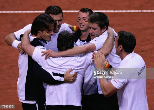 The German team comes together to celebrate the winning of the double of Alexander Waske and Michael Kohlmann after winning 46 62 63 61 the match...