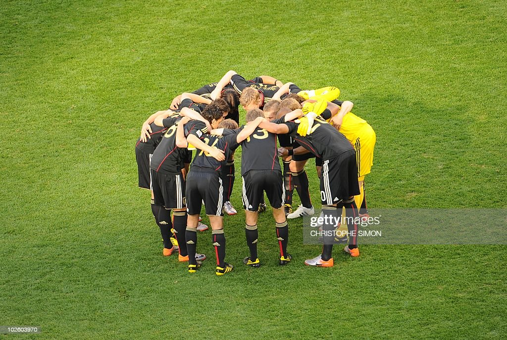 The German team huddle before the quarter final 2010 World Cup match Argentina versus Germany on July 3, 2010 at Green Point Stadium in Cape Town. NO