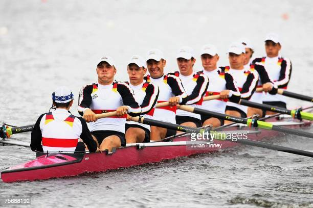 The German team in action in the Eight's heats during the World Rowing U23 Championships at Strathclyde Country Park on July 26, 2007 in Motherwell,...