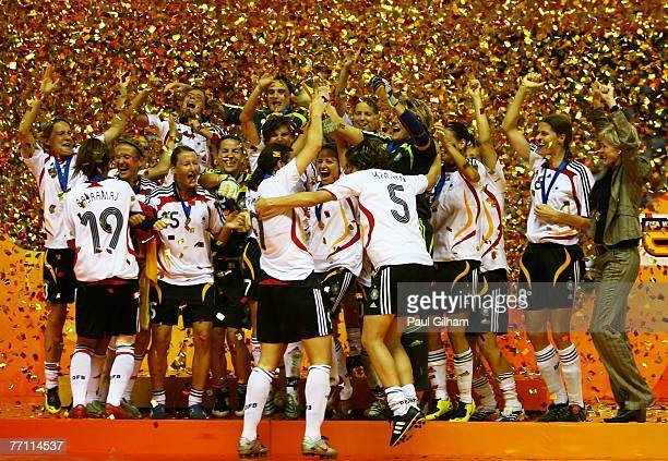 The German team lift the Women's World Cup and celebrate after winning the Women's World Cup 2007 Final between Brazil and Germany at Shanghai...
